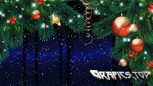 New year background footage with branches and Christmas toys