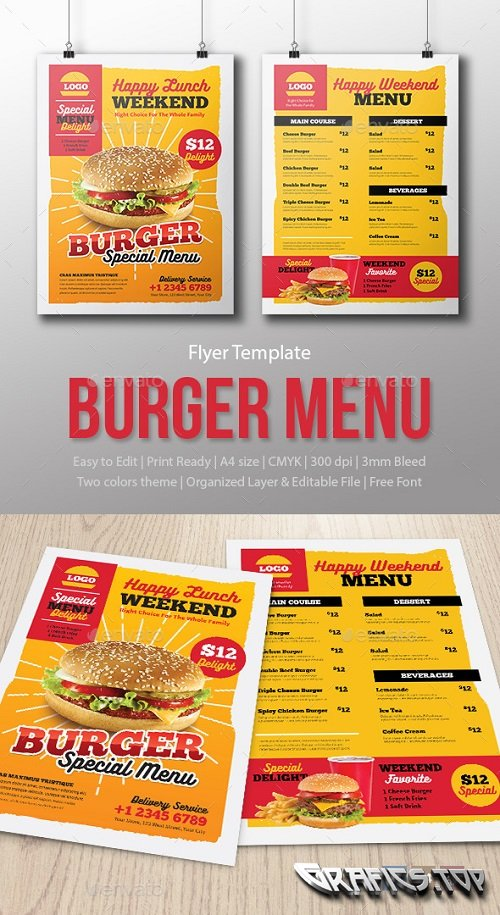 Menu Fast Food - Burger - Template 16351244