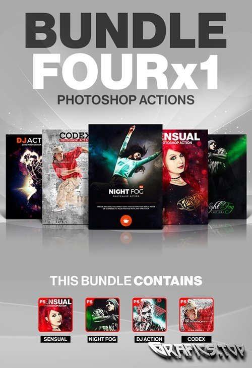 Four x1 Photoshop Actions Bundle 18219598