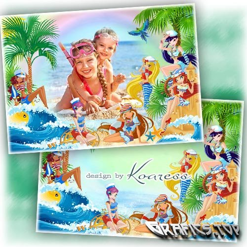 Children framework for girls photos - Sea holidays with Winx