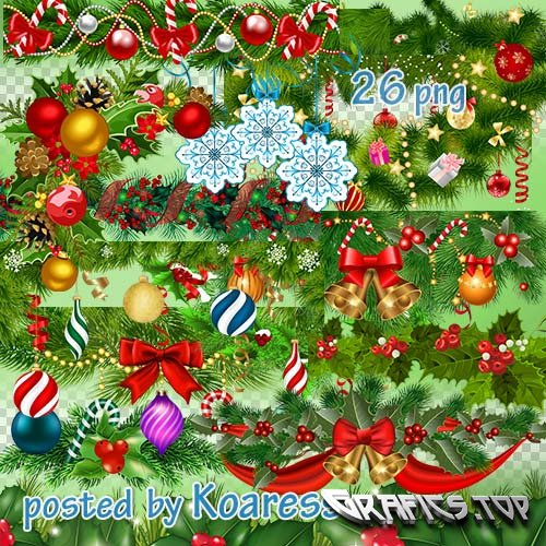Winter png clipart for design - Christmas garlands and borders