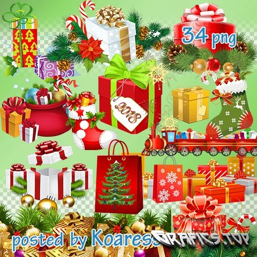 Winter png clipart for design - Christmas, new year gifts and decoration