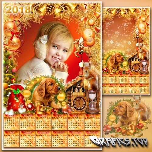 New Year's calendar with a frame for 2018 - Gold Christmas tree needles