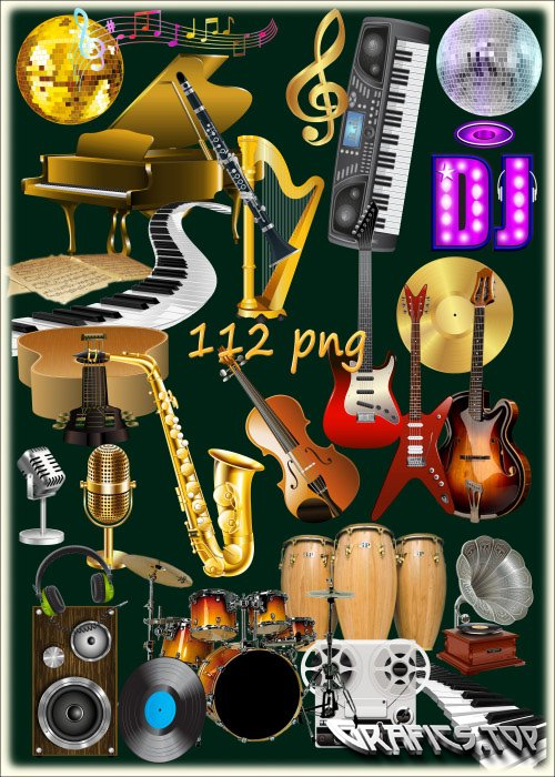 PNG clipart on a transparent background - Musical instruments Sheet music and other musical attributes
