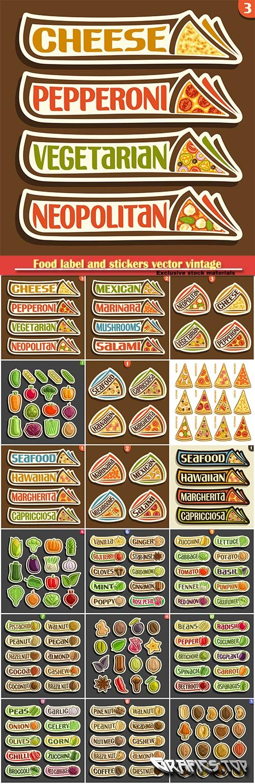 Food label vector vintage collection