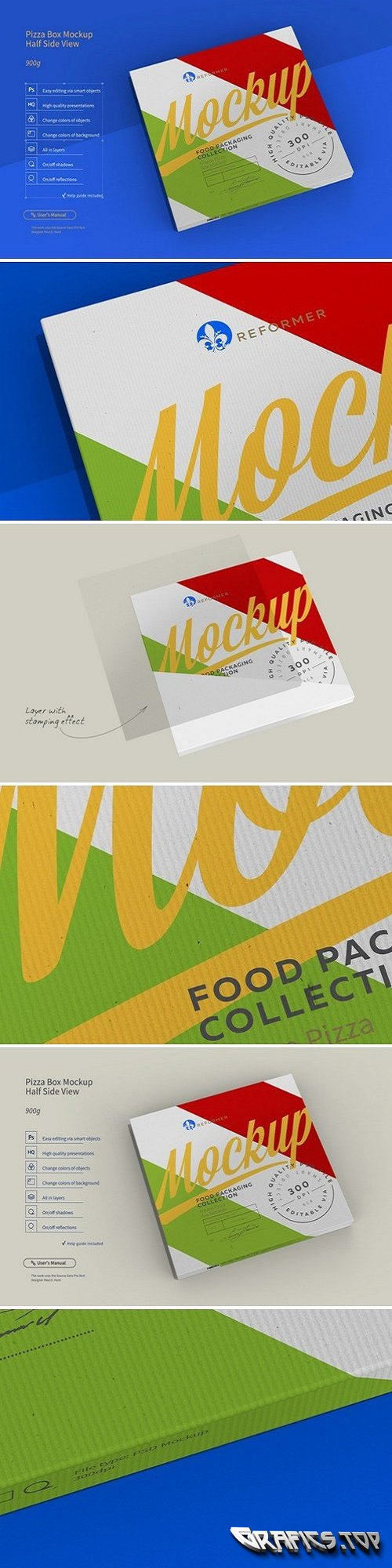 Pizza Box Mockup Half Side View 2428654