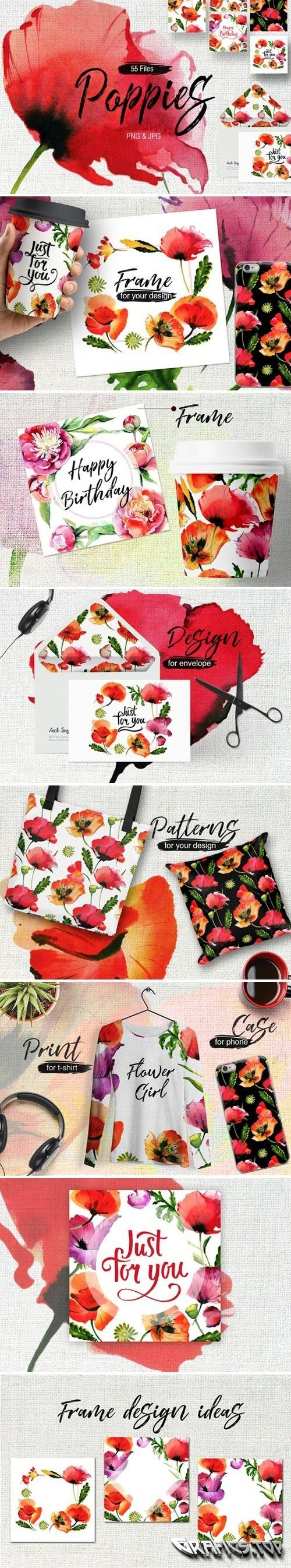 Poppy flowers PNG watercolor set - 1948215