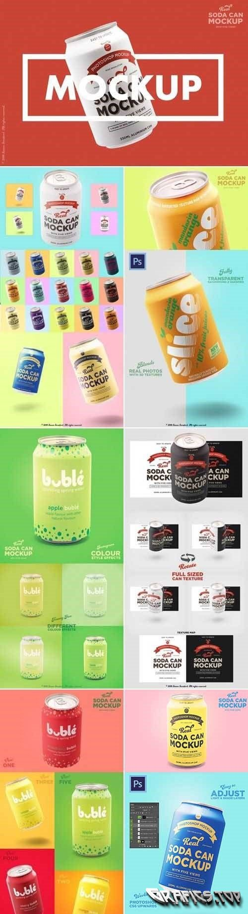Tin soda can mockup branding designs - 2954747