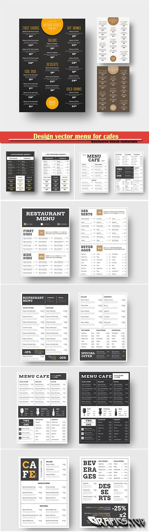 Design vector menu for cafes and restaurants