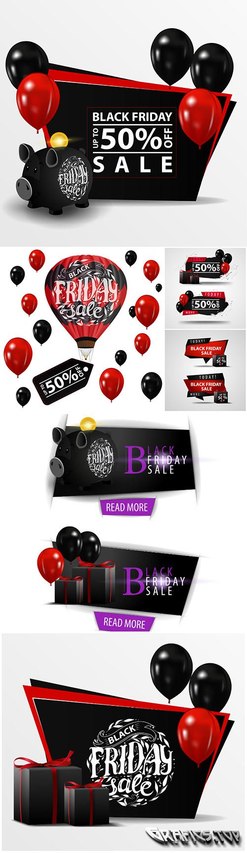 Black Friday sale vector banner with black piggy bank