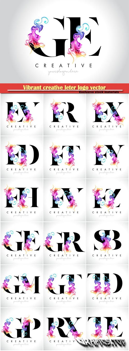 Vibrant creative leter logo vector design with colorful smoke