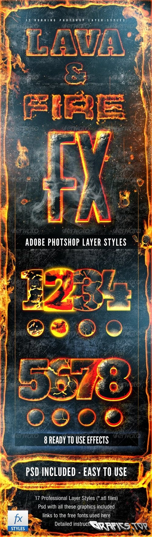 Hot Lava and Fire Layer Styles Pack Fx 2473714