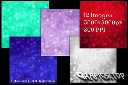 Multicoloured Bokeh Backgrounds - 12 Image Textures Set 240152