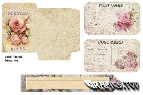 Journaling scrapbooking printable backgrounds with ephemera - 314656