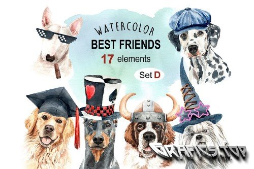 Dog watercolor clipart, Pet clip arts, Dog Set D - 349839