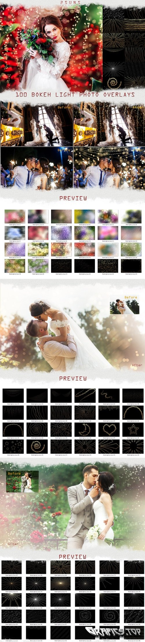100 Wedding Sparklers Photoshop Overlays Christmas textures - 354993