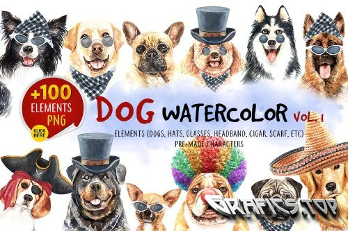 Dog watercolor.Animal Clipart Vol1 - 3617884