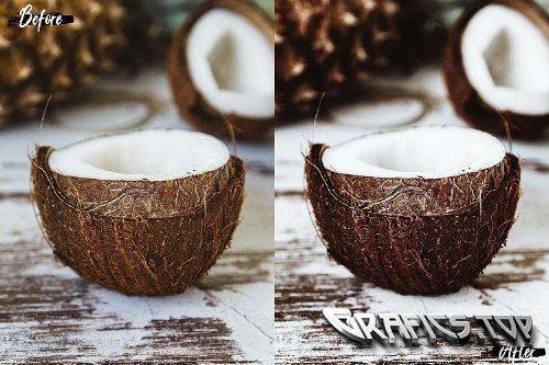 5 Coconut Photoshop Actions, ACR and LUT presets