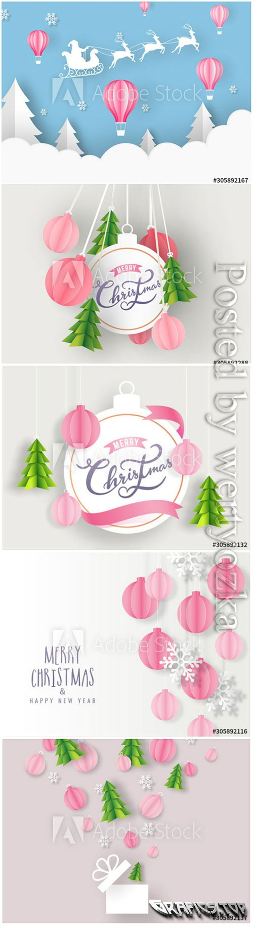 Merry Christmas decorated with paper in vector