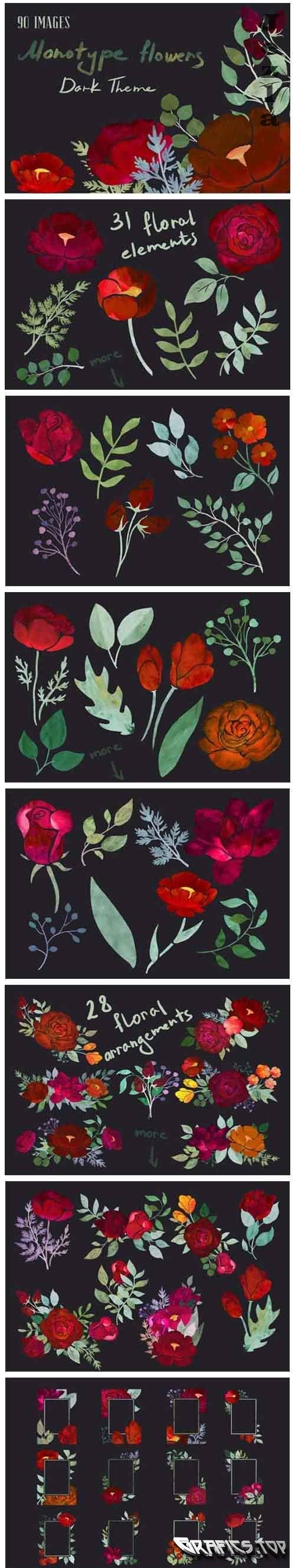 Dark Theme Monotype Flowers - 5024093