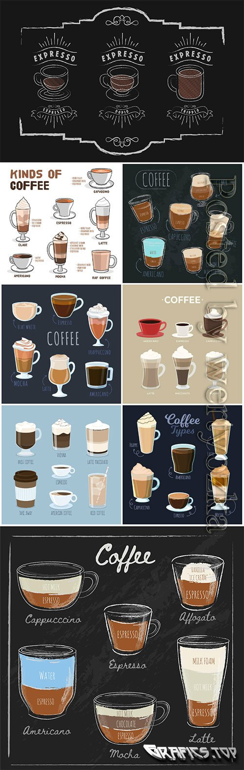 Coffee types vector collection
