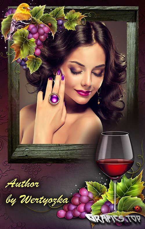 Photo frame with a glass of wine and grapes